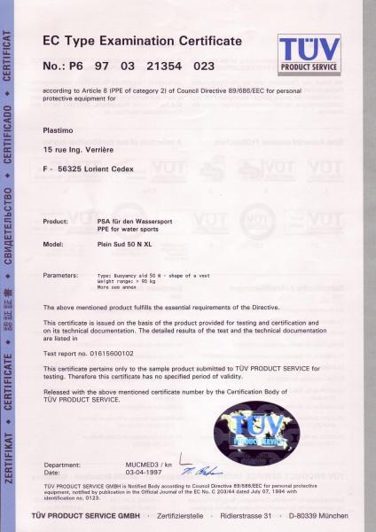 Ec certificate plein sud xl