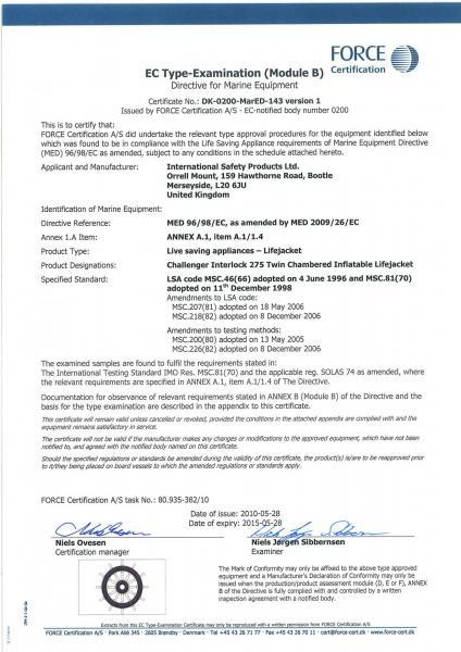 Ec certificate solas lifejackets 275 n